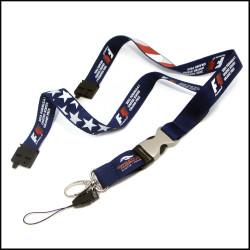 美国国旗图案双面印刷优质绦纶工作证件套挂绳对参展活动证件挂带