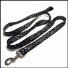 Black coarse texture fabric polyester printing custom logo dog leashes