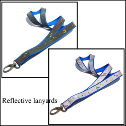 The concert propaganda badge Blue polyester and custom printed reflective lanyards