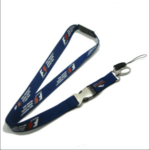 different printed logo on two sides neck straps with half metal half plastic release buckle