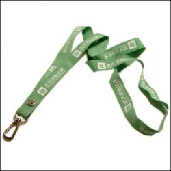 草绿色带波浪花边的柔软超薄的平纹织唛证件带学生校牌挂绳