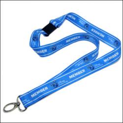 蓝色加宽热转印证件带挂绳员工厂牌带