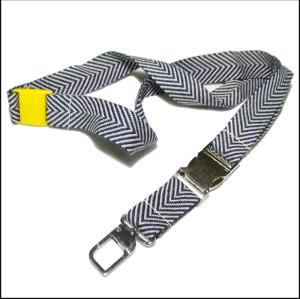 黑白人字纹柔软纯棉织带挂绳证件套挂带