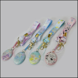 Thermal transfer lovely pattern mobile phone cleaner polyester hang lanyards