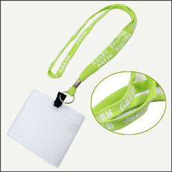 Fluorescent green enterprise publicity narrow band work permit hanging rope staff brand hanging lanyards