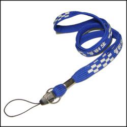 Blue polyester PK cell phone holder neck lanyards