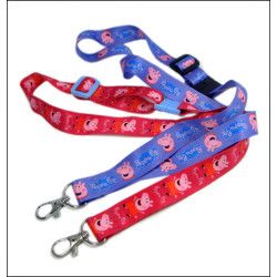 Piggy page series heat transfer for children with adjustable id ties polyester neck lanyard