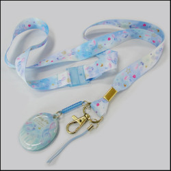 Thermal transfer lovely pattern polyester hang - up mobile phone wipe cleaner neck lanyards