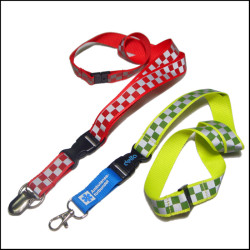 时尚格子反光带夜行识别证件带安全耐用证件套挂绳