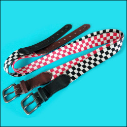 Jacquard red and white check box sewing leather fashion belt