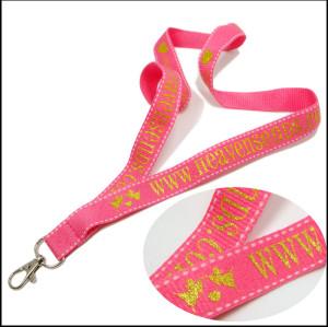 闪光金粉银粉logo安全耐用绦纶证件套织带挂绳