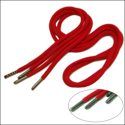 The new style bright red cotton thick drawstring metal ends shoelaces