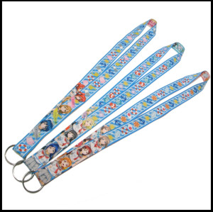 Boys and girls Cartoon beautiful girls double-sided heat transfer printing polyester hanging belt key lanyards