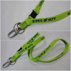 Metal lanyard hook Green polyester  tubular promotional imprinted lanyard