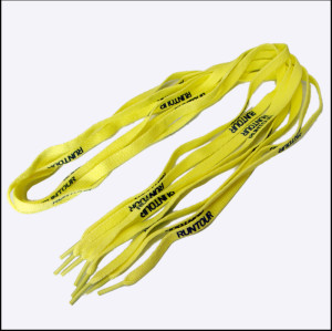 Yellow frabic polyester custom printed shoelaces