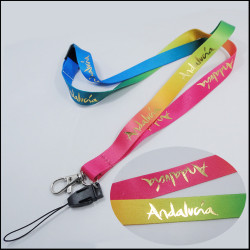 Rainbow Sublimation printed Foil Stamped logo with ID card holder lanyard