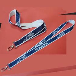 Blue polyester satin neck brand lanyard custom neck strap