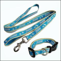 小型犬油墨印刷宠物牵引绳小狗宠物脖圈两件套