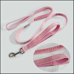 Secure with a glance of the pink elastic pet collar dog leash