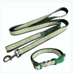 Reflective strong safety label nylon satin custom logo pet collar dog leash