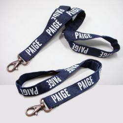 高档仿古牛仔布网版印刷证件套挂绳胸牌吊带品牌宣传挂带