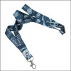Blue color custom logo woven on satin fabric double layers lanyards
