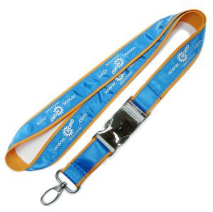 Custom printing satin ribbon fabric id card holder with metal buckle lanyards