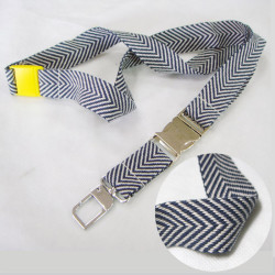 100% cotton woven fabric strap metal buckle staff card neck lanyards