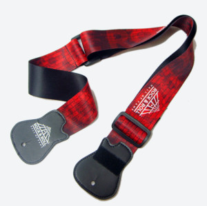Red sublimation logo polyester and leather guitar holder straps