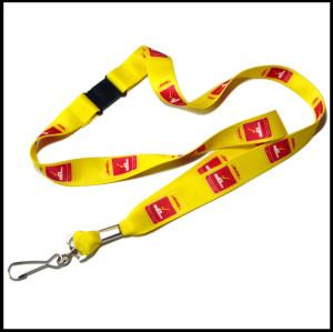 Yellow sublimation custom logo swivel J hook business name card holder lanyard