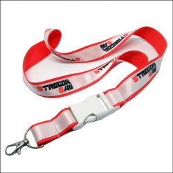 White plastic buckle custom promotional satin lanyards manufacture