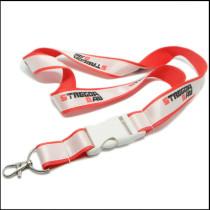 White plastic buckle custom promotional satin lanyards manufacture