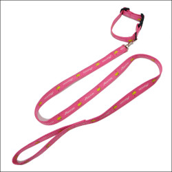 Sublimation logo polyester pink satin dog leashes and matching collars