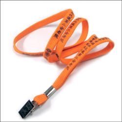Bulldog clip name card badge polyester tubular promotional imprinted lanyards