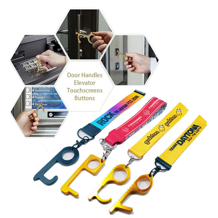 Rainbow color sublimation logo metal  functional  touchless Door opener handle holder strap