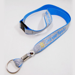 Beatiful love blue cute reflective id card rope key lanyard free sample