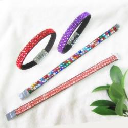 Promotional gift custom desing colors rhinestones Glitter wristband strap