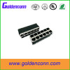 RoHs 10 /100Base-TX 90 degrees RJ45 connector with led 2*6 port female