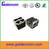 RoHs 10 /100Base-TX 90 degrees RJ45 connector 2*2 port female 8P8C with led with transformer