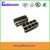 8 port rj45 connector RoHs 10 /100Base-TX 90 degrees RJ45 2*8 port female connector with led
