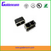 rj45 shield with led female jack connector 8P8C for PCB 1*2 dual ports Connectors with right angle type without transformer