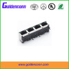 rj45 shield female jack connector 8P8C for PCB 1*4 ports Connectors with right angle type LED lamp
