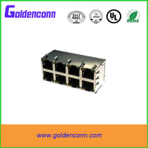 rj45 shield female jack connector 8P8C for PCB 2*4 dual row ports Connectors with right angle type used in router /switch