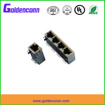 rj45 shield female jack PCB connector 8P8C tap-up 1*4 ports Connectors with right angle type 90 degrees &transformer