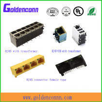 RJ45 shield/unshield female jack connector 8P8C for PCB Connectors with right angle type LED lamp with/without transformer