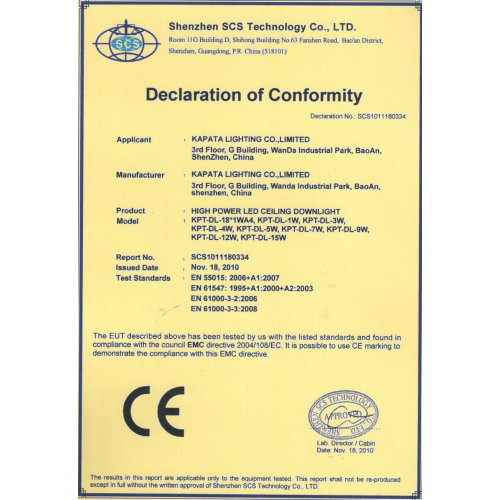 CE Certificate for highpower LED ceiling downlight