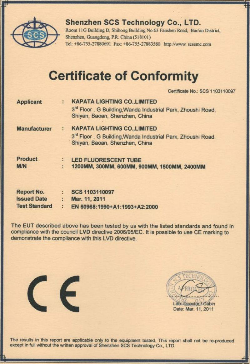 CE-LVD for Profresh tube light