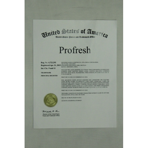 United States Patent certificate for Profresh