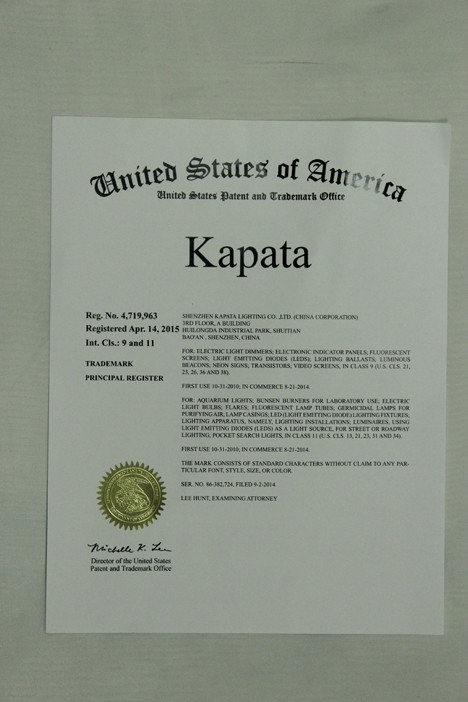 United States Patent certificate for Kpata