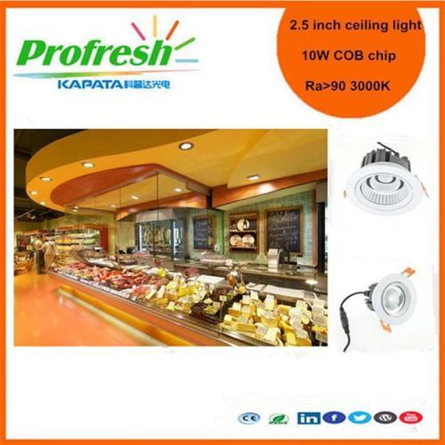 10 vatios COB chip 2. 5 pulgadas Profresh luz de techo para deli o iluminación de postre led downlight